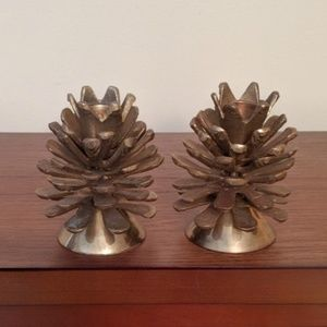 Vintage sold brass pinecone candle holders.